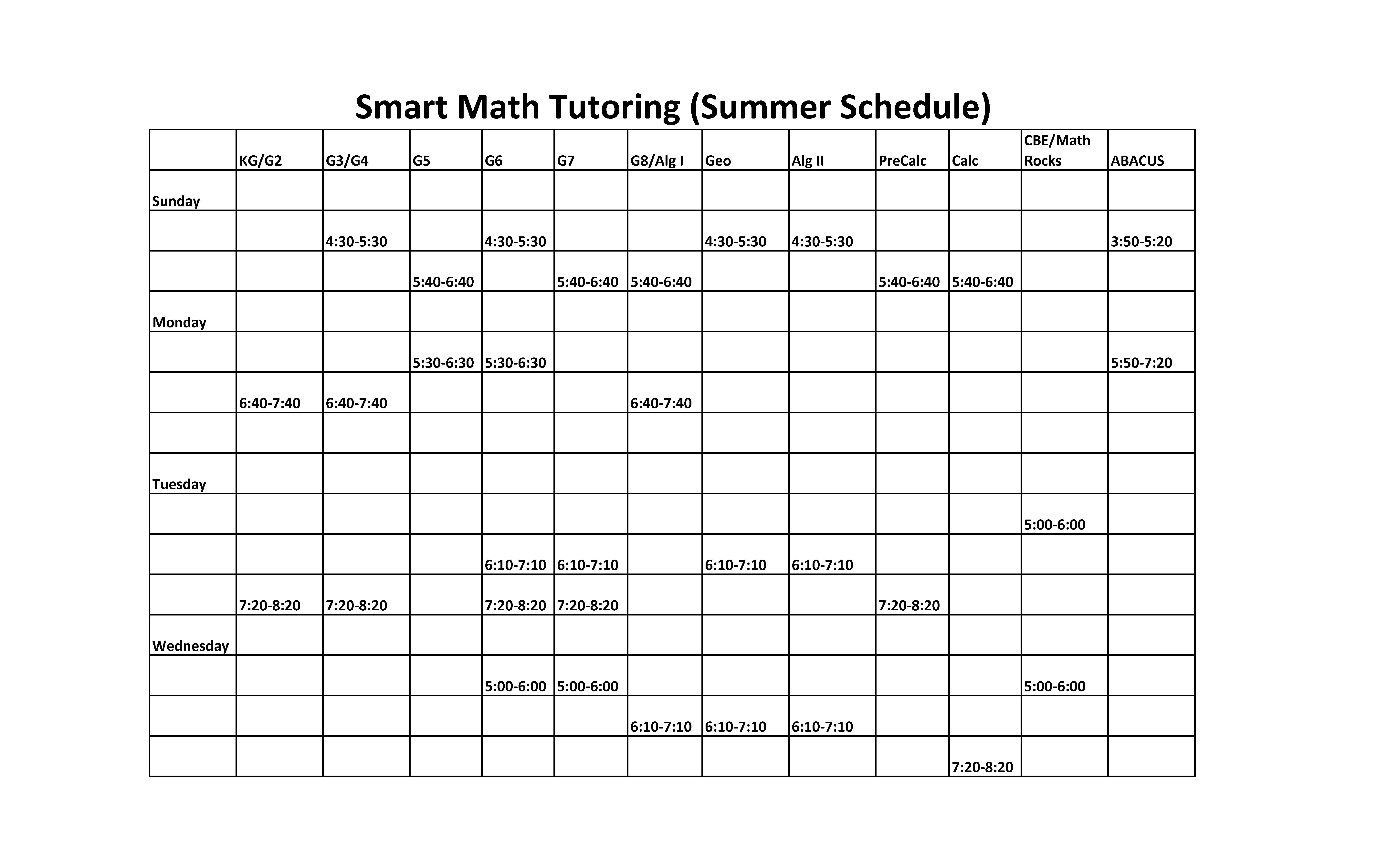 Smart Math Tutoring - Summer Schedule